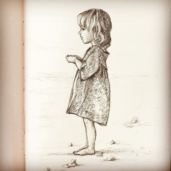 The Best Small Pencil Sketches Simple Little Girl Drawing. Quick Sketch. #kiddrawing #kidsillustration Photo