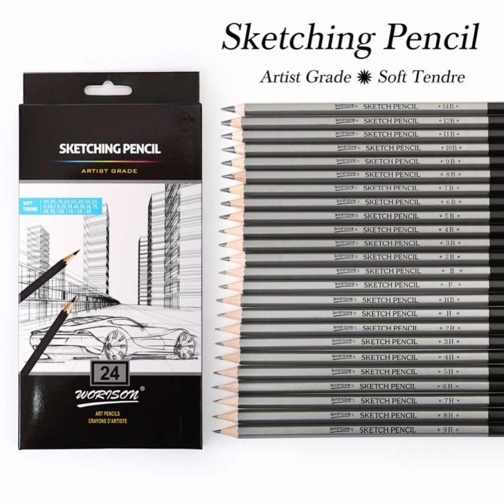 The Best Soft Grade Pencil Simple Best Quality 12/24Pcs 9H-14B Set Drawing Sketching Pencil Soft Safe  Non-Toxic Standard Pencils Professional Office School Pencil Photos