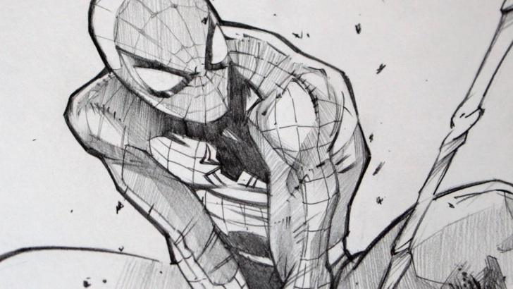 The Best Spiderman Pencil Drawing Courses Drawing Spiderman With 2B Graphite Pencil Picture