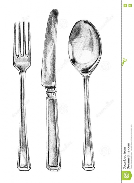 The Best Spoon Pencil Drawing Step by Step Fork Knife And Spoon Pencil Illustration Stock Illustration Images