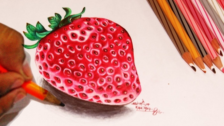 The Best Strawberry Pencil Drawing Step by Step Draw Strawberry Color Pencil Version Step By Step Video Pic