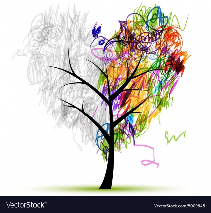 The Best Tree Pencil Drawing Simple Heart Shape Tree Pencil Drawing For Your Design Image