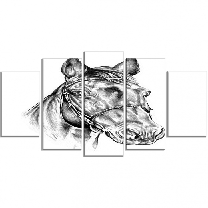 The Best Wall Pencil Drawing Simple 'freehand Horse Head Pencil Drawing' 5 Piece Wall Art On Wrapped Canvas Set Pics