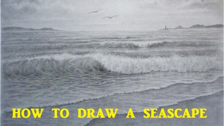 The Best Wave Pencil Drawing Free How To Draw A Seascape, Waves, Skies, Graphite Pencil Tutorial Image