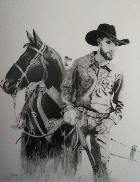 The Best Western Cowboy Pencil Drawings Courses Western Cowboy Shooting Horse Print Of Original Pencil Drawing Photo