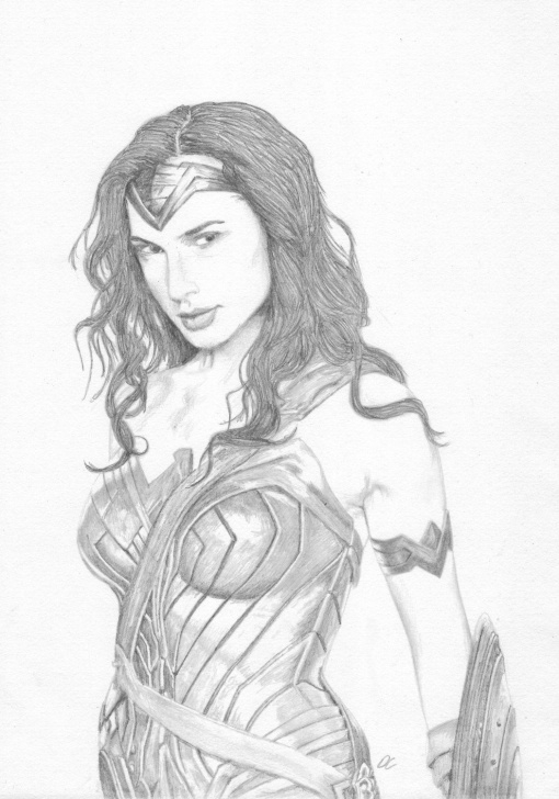 The Best Wonder Woman Pencil Drawing Step by Step Wonder Woman - Pencil Drawing The Justice League - Fan Art Print By Pic