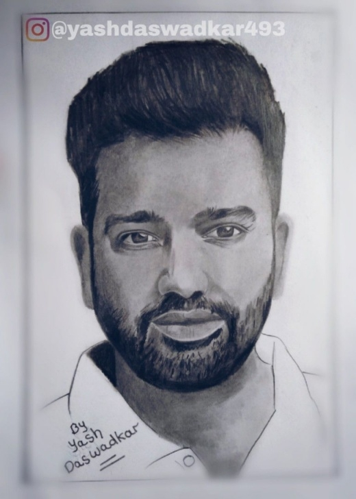 The Best Yash Pencil Sketch Free Sketch Of Rohit Sharma Drawn By Yash Daswadkar. | Rohit Sharma Pictures