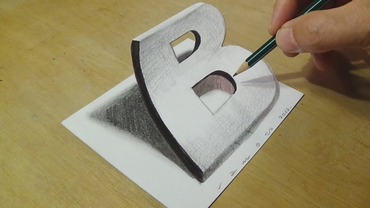 The Complete 3D Painting On Paper With Pencil Lessons Drawing 3D Letter B - Trick Art On Paper With Graphite Pencils - Illusion  For Kids & Adults Pics