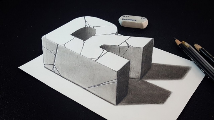 The Complete 3D Pencil Drawings Easy Techniques How To Draw 3D Letter R - Easy Charcoal Pencil Drawing Images