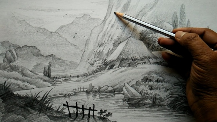 The Complete Art Using Pencil Free How To Draw Village Landscape With Pencil | Pencil Art Images