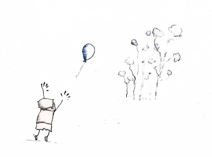 The Complete Balloon Pencil Drawing Easy Boy And Balloon Pencil Sketch - Ink Winks Image