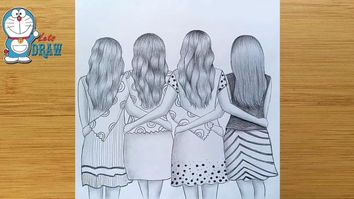 The Complete Best Friends Pencil Sketches Simple Best Friends❤ Pencil Sketch Tutorial || How To Draw Four Friends Hugging  Each Other Picture