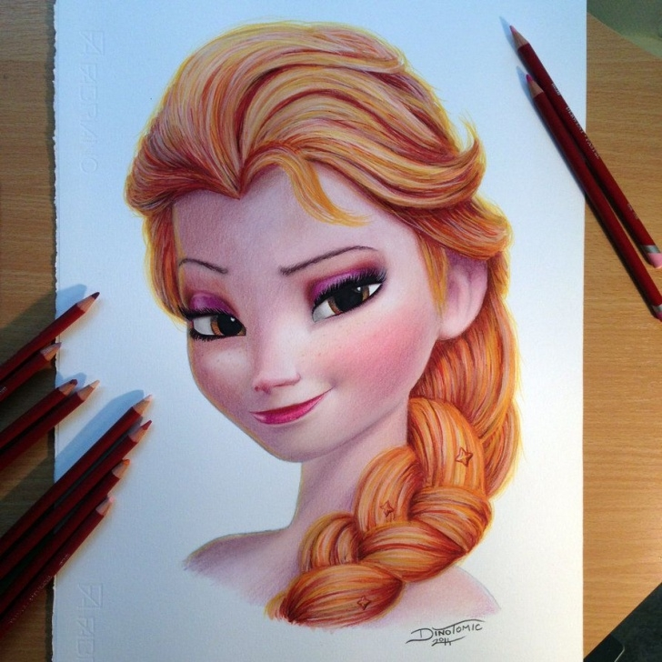 The Complete Colour Pencil Sketches Lessons Elsa Color Pencil Drawing By Atomiccircus | Frozen Disney | Cool Photos