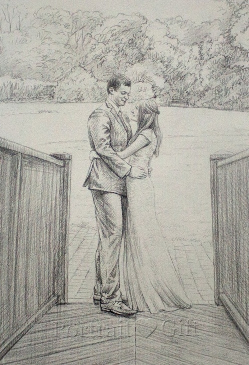 The Complete Couple Pencil Art Step by Step Wedding Pencil Sketch - Portrait Gift Images