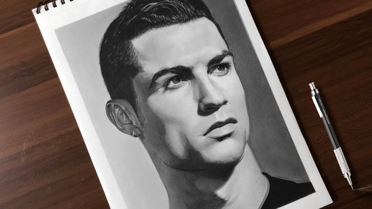 The Complete Cr7 Pencil Drawing Step by Step Drawing Cristiano Ronaldo | Realistic Pencil Drawing Time-Lapse Photo