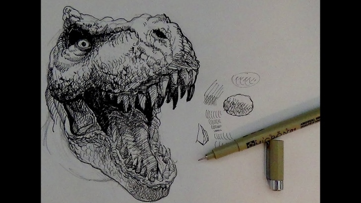 The Complete Dinosaur Pencil Drawing Tutorials Pen And Ink Drawing Tutorials | How To Draw A T-Rex Dinosaur Pics