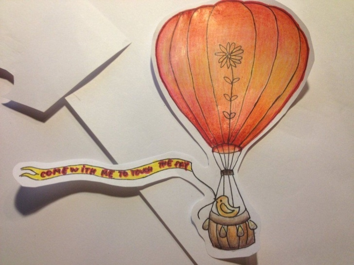 The Complete Hot Air Balloon Pencil Drawing Easy Hot Air Balloon Drawings | Hot Air Balloon Color Pencil Drawing By Pictures