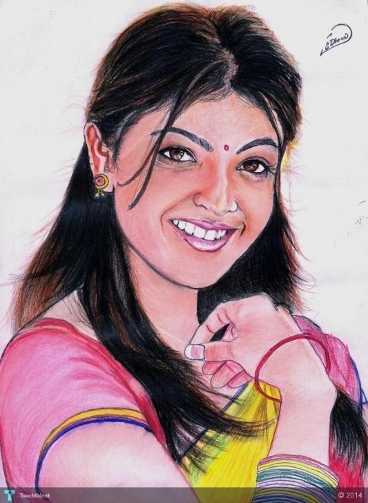 The Complete Kajal Agarwal Sketch Lessons Color Pastel Sketch.kajal Agarwal   Touchtalent - For Pic