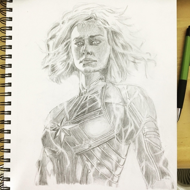 The Complete Marvel Drawings In Pencil Free Pencil Drawing Of Captain Marvel : Marvel Pictures