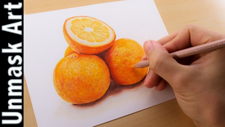 The Complete Orange Pencil Drawing Tutorials Oranges Still Life | Colored Pencil Drawing Time Lapse Pic