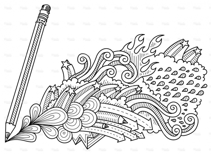 The Complete Pencil Doodle Art Techniques Abstract Pencil Doodles, Neat And Detailed, Strokes - Intact Image