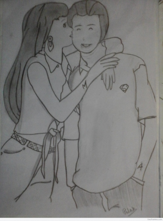 The Complete Pencil Drawing Boy And Girl Lessons A Sketch Of Boy And Girl | Desipainters Images