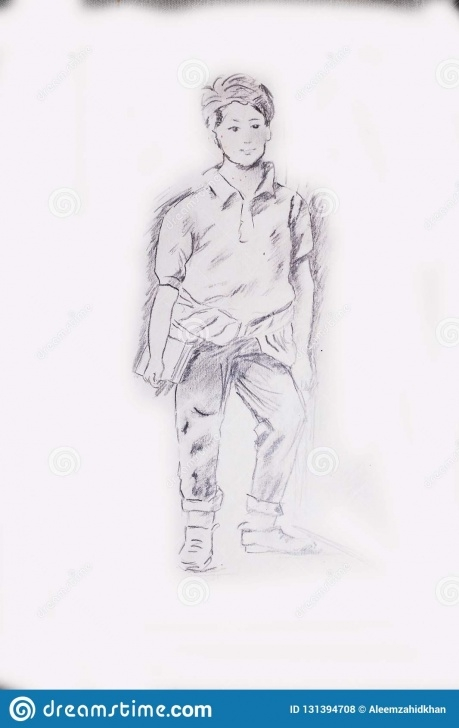 The Complete Pencil Drawing Of A Boy Easy Pencil Drawing Of A Young Student Boy Standing Next To A Wall Stock Picture