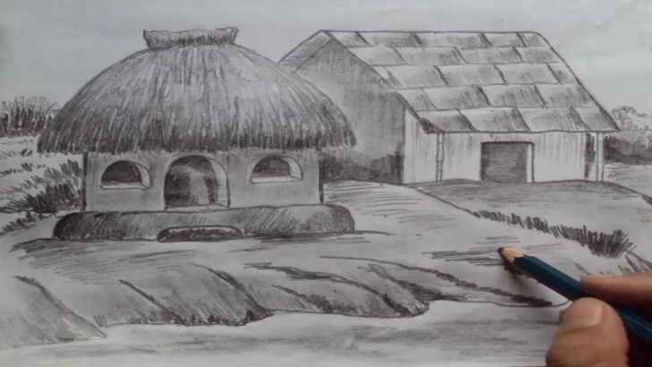 The Complete Pencil Drawing Of Hut Tutorial How To Draw A House, Shading With Pencil - Youtube | Sketches In Photos