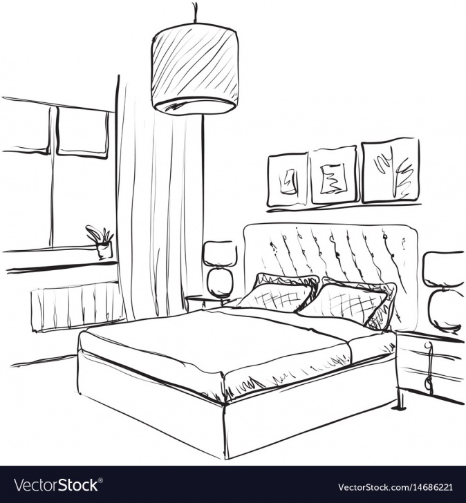 The Complete Pencil Sketch Of A Bedroom Tutorial Bedroom Interior Sketch Hand Drawn Furniture Vector Image Picture