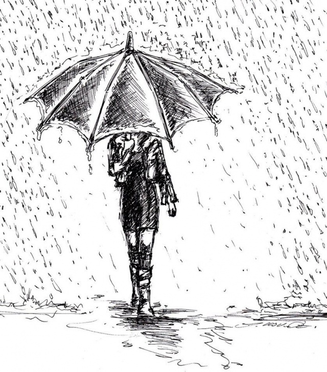 The Complete Pencil Sketch Of Rainy Season Techniques Girl In Rain Drawing | Art Ideas In 2019 | Art Drawings, Drawing Photo