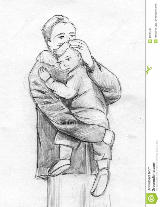 The Complete Pencil Sketches Of Father And Daughter Tutorial Father And Child Pencil Sketch Stock Illustration - Illustration Of Picture