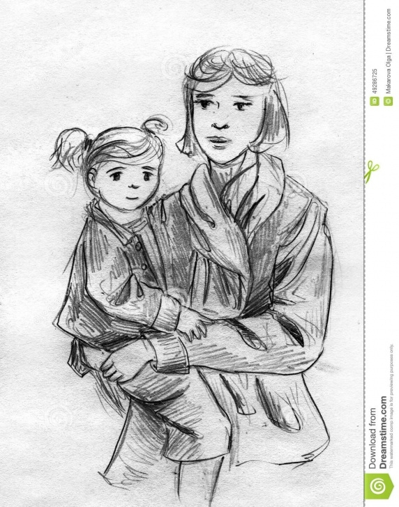 The Complete Pencil Sketches Of Mother And Daughter Lessons Mother And Daughter Pencil Sketch Stock Illustration - Illustration Pics