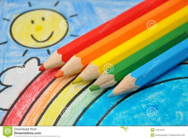 The Complete Rainbow Pencil Drawing Easy Colorful Drawing: Smiling Sun, Rainbow, Blue Sky Stock Image - Image Photos