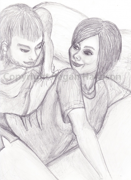 The Complete Romantic Couple Pencil Sketches for Beginners Romantic Couple Cuddling In Bed. Original Pencil Drawing #romantic Picture