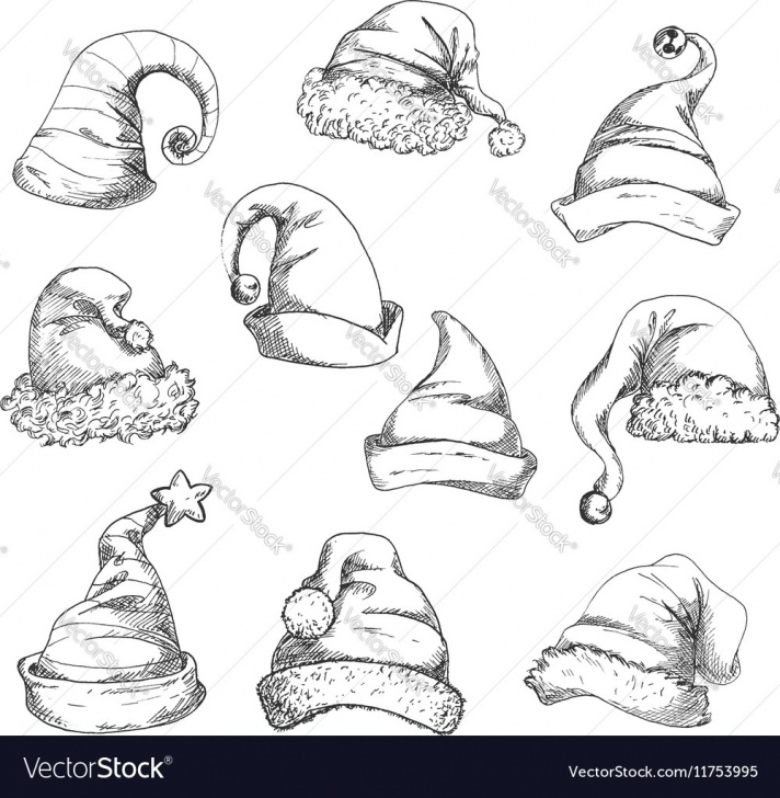 The Complete Santa Pencil Drawing Easy Santa Hats Pencil Sketch Icons Pic