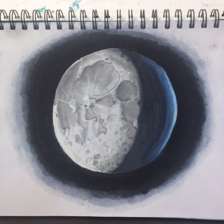 The Complete Shading With Graphite Pencils Free Drawing 2☄Moon Done With Graphite Pencils. Tipp-Ex Highlights Images