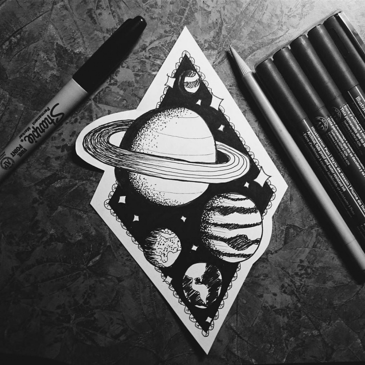 The Complete Space Pencil Drawing Tutorial Pin By Emily Lysek On Tattoos | Space Drawings, Doodle Art Journals Picture