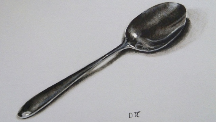 The Complete Spoon Pencil Drawing Step by Step Realistic Spoon Drawing, Time Lapse Pics