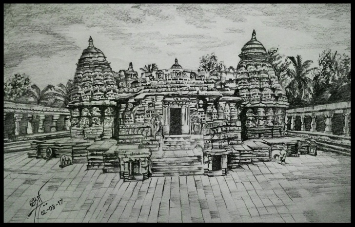 "The Complete Temple Pencil Drawing Simple Kumara Srihariharan On Twitter: ""pencil Sketch!!! ""beautiful Temples Images"