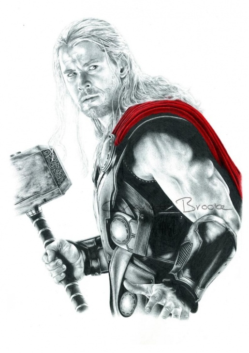 The Complete Thor Pencil Drawing Techniques for Beginners Thor Pencil Portrait Drawing Print Image