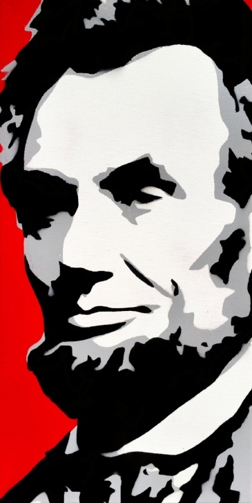 The Most Famous Black And White Stencil Art for Beginners Abraham Lincoln Stencil Art Painting On 12X24 Inch Canvas Photos