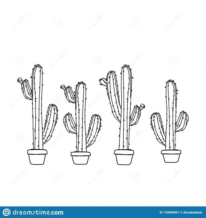 The Most Famous Cactus Pencil Drawing Courses Cactus In A Pot , Pencil Drawing Stock Vector - Illustration Of Picture