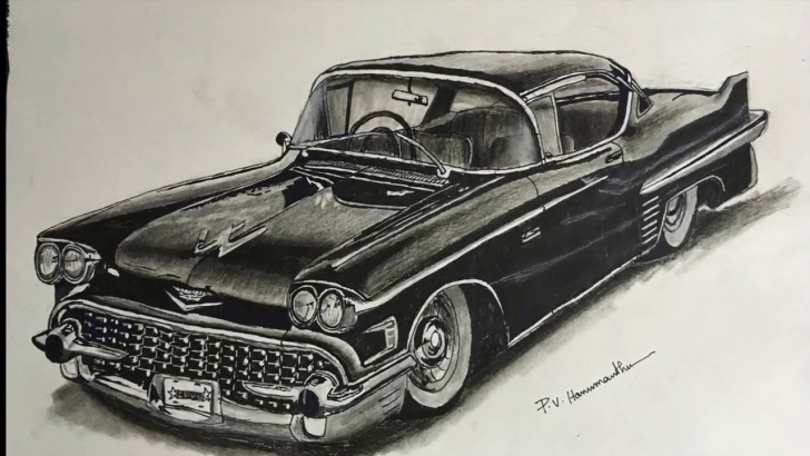 The Most Famous Car Pencil Drawing Simple Vintage Car Pencil Drawing | How To Draw A Car With Pencil | P V Hanumanthu  Art Photos