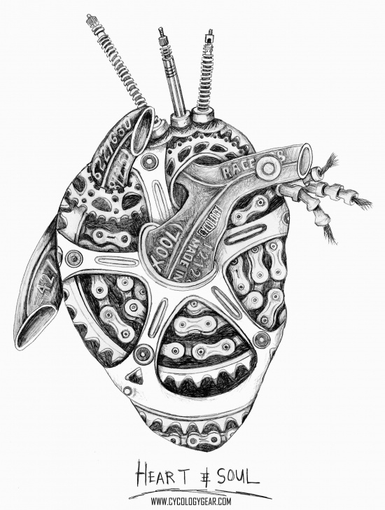 The Most Famous Chain Pencil Drawing Courses A Lead Pencil On Paper Drawing - A Heart Made From Bicycle Parts Pic
