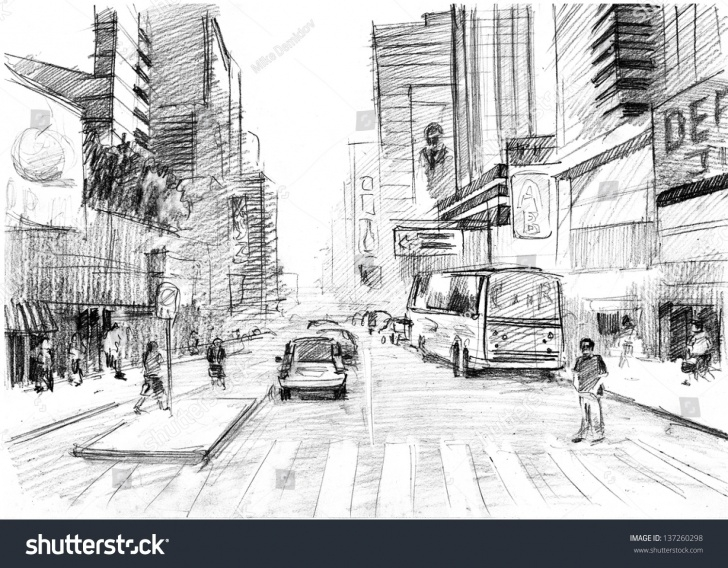 The Most Famous City Pencil Drawing Techniques for Beginners Pencil Drawing Big Modern City New Stock Illustration 137260298 Photos
