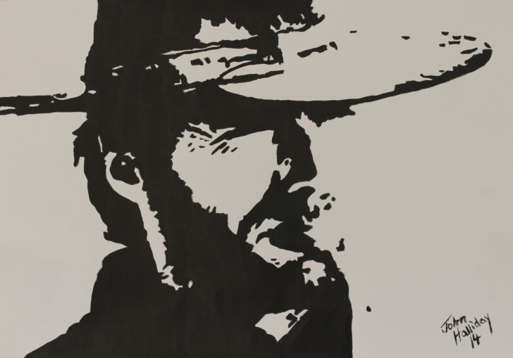 The Most Famous Clint Eastwood Stencil Art Courses Clint Eastwood, Acrylic On Paper. | Wallpapers In 2019 | Cowboy Art Image