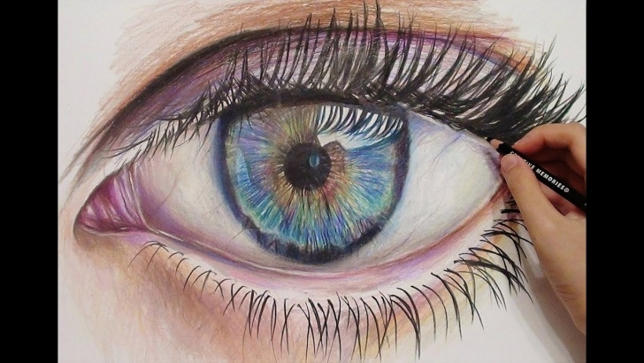The Most Famous Colored Pencil Eye Drawing Simple Drawing A Realistic Eye With Colored Pencils - Time Lapse Photos