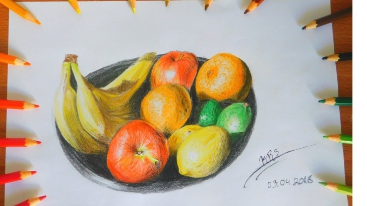 The Most Famous Colored Pencil Still Life Simple Still Life Of Fruits Colored Pencils Drawing | Krs Drawings Photo