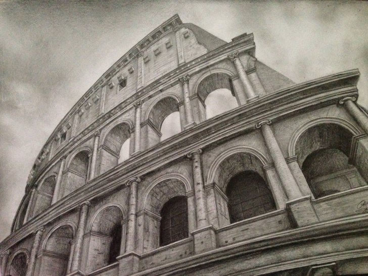 The Most Famous Colosseum Pencil Sketch Techniques Roman Colosseum Sketches | Colosseum - Pencil Drawing | Drawing Pic