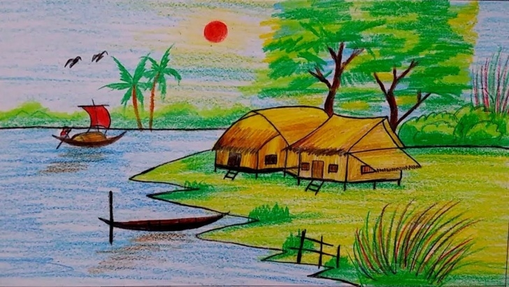 The Most Famous Drawing Images Village Easy How To Draw Village Scenery Step By Step | Easy Drawing Tutorial For Pic